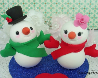 Custom Snowman Love Wedding Cake Topper with Heart Base - SPECIAL FOR 2016