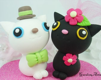 Custom Cat Love Wedding Cake Topper with Heart Base- SPECIAL FOR 2016