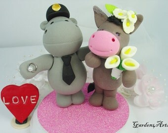 Wedding Cake Topper--Love Hippo and Donkey with Sweet Ring and Circle Clear Base