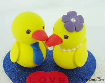 Custom Wedding Cake Topper--Yellow Duck Love with Heart Base - SPECIAL  FOR 2016