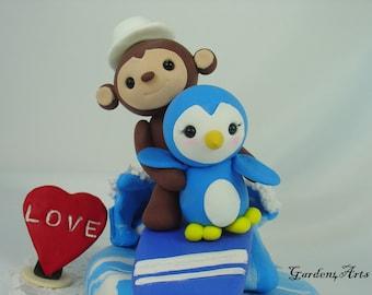 Custom Wedding Cake Topper--Surfing Monkey & Penguin Love with Ocean Base--for Summer Theme Wedding