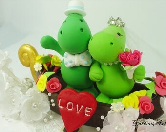 Wedding Cake Topper--Dino Love with Sweet Floral Gondola for Italy Themed Wedding