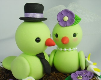 Custom Birds Love Wedding Cake Topper with Floral Nest Choice of color
