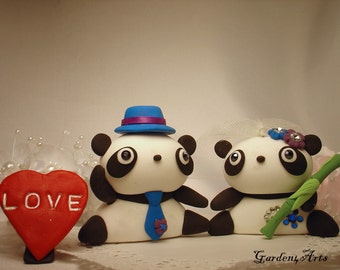 Wedding Cake Topper--Lazy Panda with circle clear base--Bride Hold a  Bamboo / Asian inspired