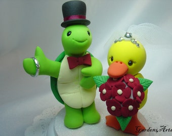 Custom Wedding Cake Topper--Turtle & Duck Love with Circle Clear Base