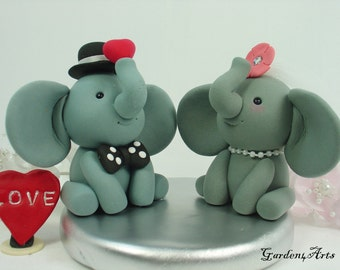 Custom Elephant Love Wedding cake topper/ Groom hold a Sweet Red Heart with circle clear base