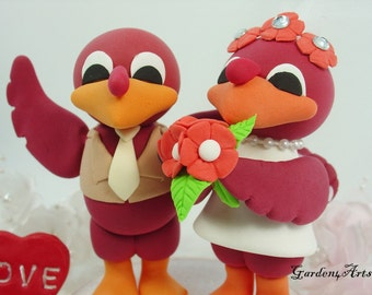 Wedding Cake Topper-Custom VT Hokies Bird - Unique College Mascot Love Couple with circle clear base