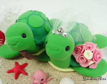 Unique Wedding Cake Topper--Green Sea Turtle Love with sand base/ for Summer beach wedding