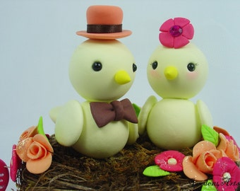 Custom Love Birds Wedding Cake Topper with Sweet Floral Nest Choice of Color