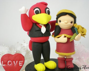 Wedding Cake Topper-Custom USC & Florida State-Unique College Mascot Love Couple with circle clear base