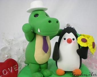 Custom Wedding Cake Topper--Alligator & Penguin Love with Grass Base/ Bride Hold a Sunflower Bouquest