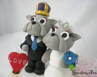 Custom Wedding Cake Topper--Unique College Mascot Love Couple with circle clear base--JMU Duke Dogs