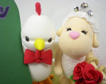 Custom RWedding Cake Topper--Chicken & Sheep Love with circle clear base