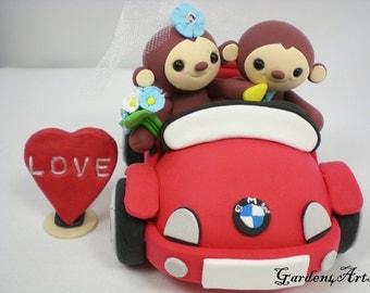 Custom Wedding Cake Topper--Happy Monkey Love with Sweet Convertible Car