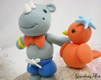 Custom Wedding Cake Topper--Love Rhino & Bird with Clay Sand Base