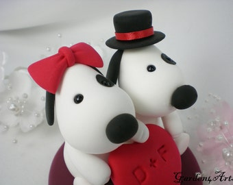 Custom Wedding Cake Topper--Love Dog Couple with a Sweet Heart and Circle Clear Base