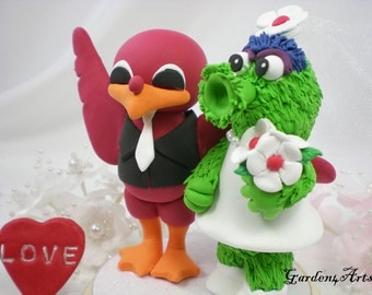 NEW--Custom Wedding Cake Topper--VT Hokie & MLB Phillies Mascot with Circle Clear Base
