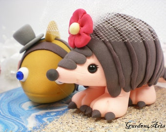 Wedding Cake Topper--Love Fish and Pangolin Couple with Ocean/Sand Base