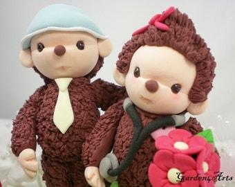 Custom Wedding Cake Topper--Cute Monkey Doctor Love with Circle Clear Base