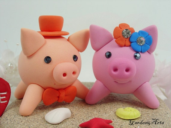 Wedding Cake Topper-Customise Love Pink Piggy Couple with Sand Base - for Beach Wedding
