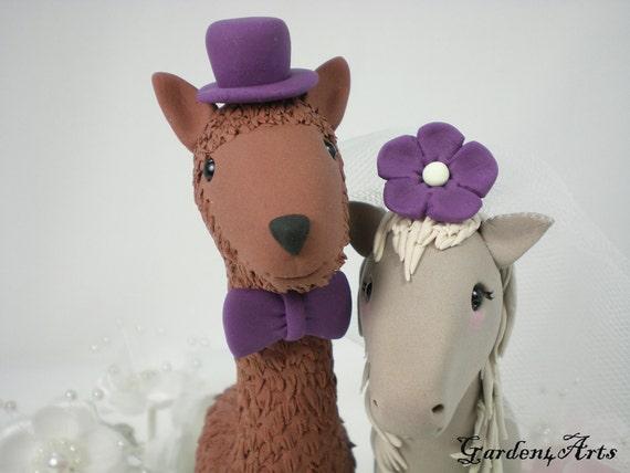 Custom Wedding Cake Topper--Happy Llama & Pony Love with Grass Base