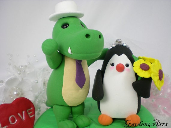 Custom Wedding Cake Topper--Alligator & Penguin Love with Grass Base/ Bride Hold a Sunflower Bouquest