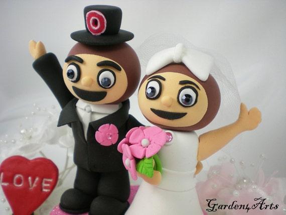 Mascot Mr. & Mrs. Custom Wedding Cake Topper--Love OSU Brutus Couple with circle clear base