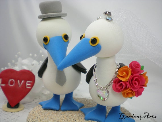Custom Wedding Cake Topper--Love Blue Footed Booby Couple with Clay Sand Base--NEW