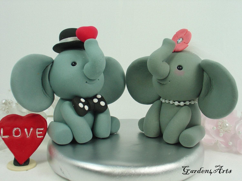 Custom Elephant Love Wedding Cake Topper Groom Hold A Sweet