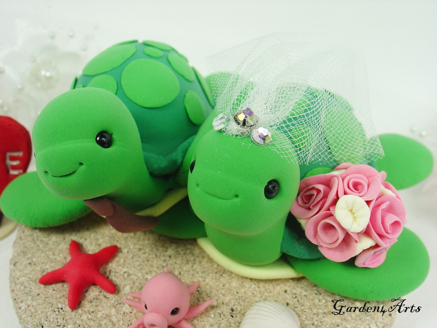 sea turtle wedding cake topper unique wedding cake toppergreen sea turtle with sand 19729