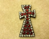 Black and red wooden jeweled cross