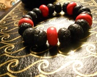 Lava Stone and Red Magnesite Wrist Mala
