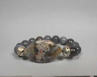 Grey Agate Mala Bracelet