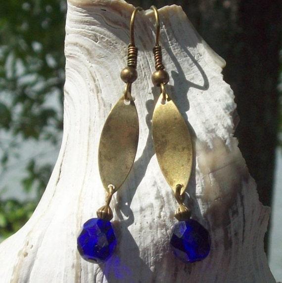 Blueberry Bonanza Earrings - blue faceted Czech glass, antique brass / gold dangle SALE