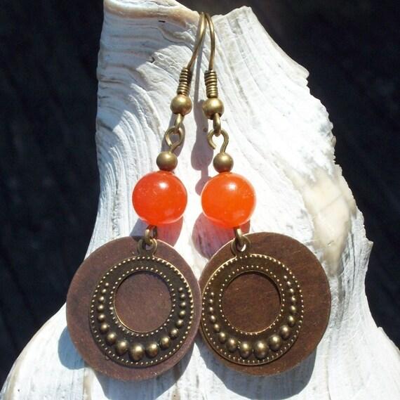 Let it Flow Earrings -  orange quartz stone - Antique copper / brass disc charm SALE