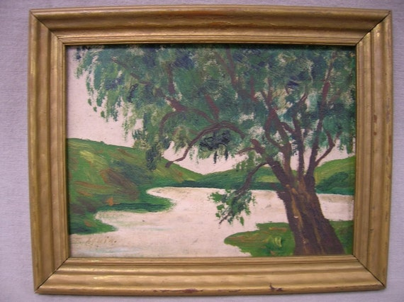 1940s vintage peaceful small framed river tree country oil on board painting, Free Ship