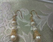 Gold Pearl Earrings with Swarovski Crystals for Bridesmaids