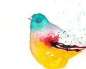 cool bird- original watercolor