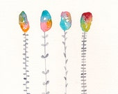 colorful spring buds - original watercolor