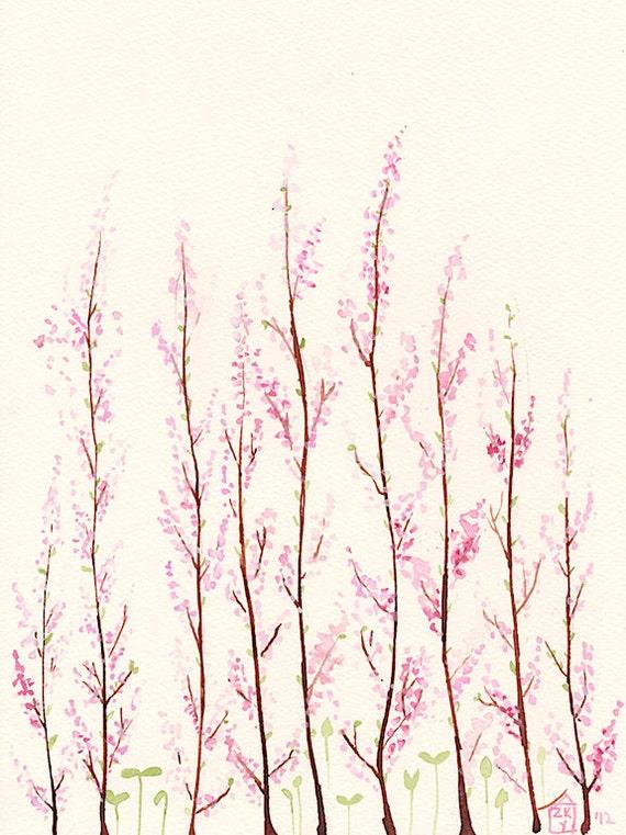 Spring Garden - original watercolor- SALE