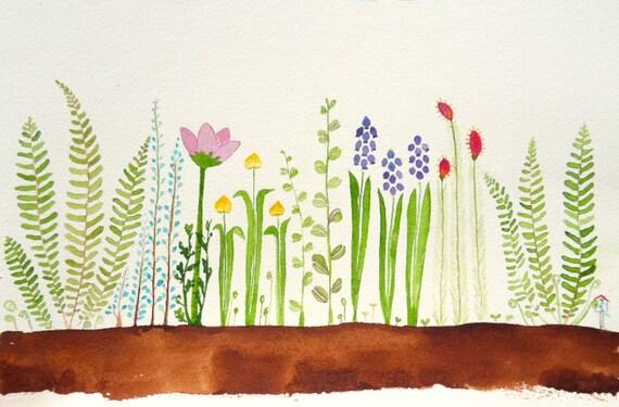 Garden- original watercolor- SALE