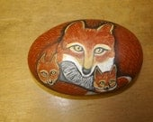 Fox and kits Painted Rock