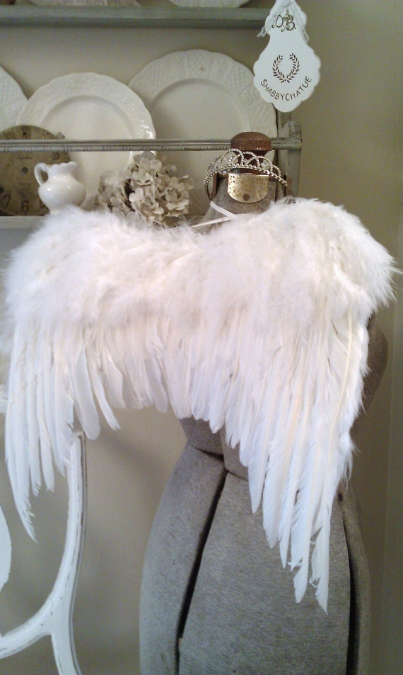 RESERVED for Sharon Only Large Fluffy Romantic Angel Wings