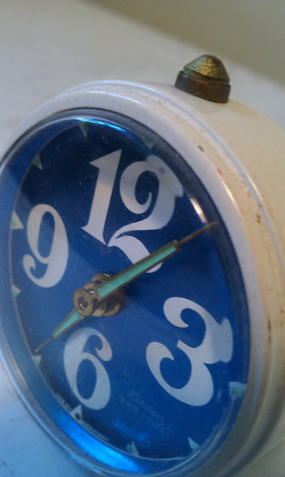 Sweet White and Blue Alarm clock From West Germany