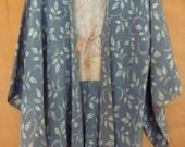 Light teal blue silk crepe Japanese Haori jacket