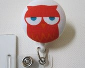 Swivel Clip Badge Reel in Sleepy Owl