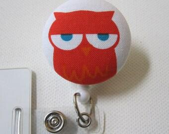 Swivel Clip Badge Reel in Sleepy Owl