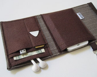 Nerd Herder gadget wallet in Coffee Break- iPhone, Droid, iPod, cell phone, earbuds, SD cards, guitar pick case