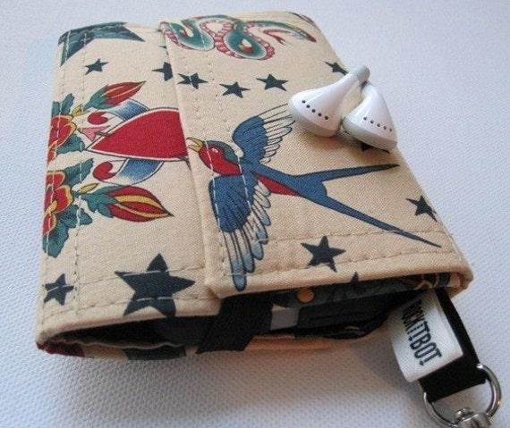 Nerd Herder gadget wallet in Sparrow Tattoo for iPhone, iPod, Droid, MP3, metronome, camera, earbuds, SD cards, USB, guitar picks, IDs