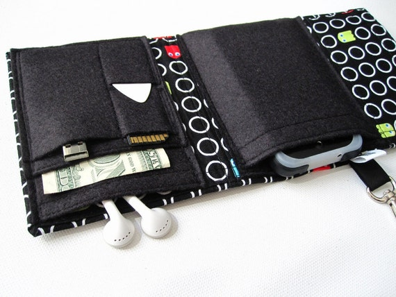 Nerd Herder gadget wallet in Blinky for iPod, Droid, iPhone, camera, earbuds, SD cards, USB, batteries, guitar picks, IDs, cards